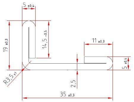 L-Stahlprofile | doppelt umgelegte Schenkel | 19 / 35 x 2,5 mm