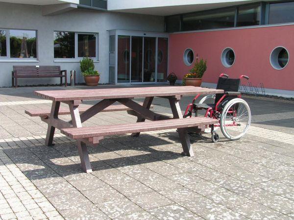 Sitzgruppe Picknickbänke SERENGETI verlängerte Tischfläche, Farbe braun
