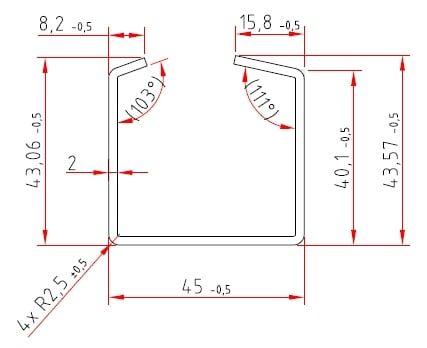 C-Stahlprofile | verzinkt | C 8,2 / 40 / 45 / 40 / 15,8 x 2 mm
