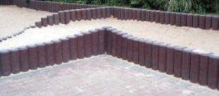 Hohlkehlpalisaden hohl D = 13,0 cm z.B. als Wegbegrenzung