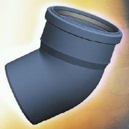 Bogen Winkel 45° (HTB/S) schallgedämmt