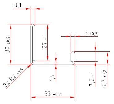 U-Stahlprofil | doppelt umgelegt | U - 9,7 (7,2) / 33 / 30 (27) x 1,5 mm 7,2 und 27 mm