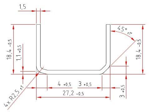 U-Stahlprofil | feuerverzinkt | 18,4 / 27 / 18,4 x 1,5 mm