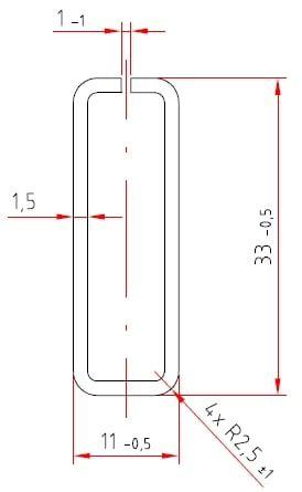 Stahl-Schlitzrohre | verzinkt | 33 / 11 x 1,5 mm