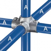 Kreuzverbinder 90°, 1 Mitteldurchgang und 4 Abgänge
