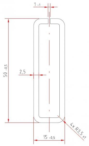 Stahl-Schlitzrohr   verzinkt   50 / 15 x 2,5 mm