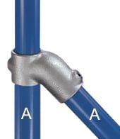 Rohrverbinder 45° aus Stahl für den Zaunbau