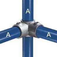 Eckverbinder 90° mit Durchgang zum Gerüstbau oder für Schutzgeländer