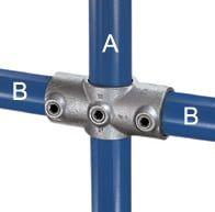 Kreuzverbinder aus Stahl, 1 Durchgang und 2 Abgänge