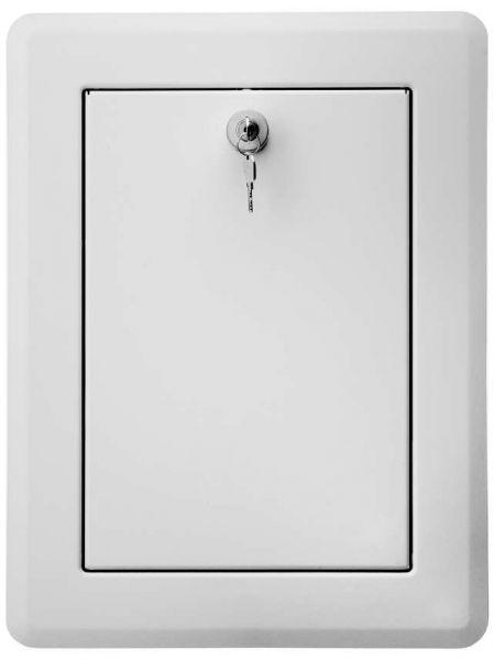 Wäscheschachtklappe Edelstahl weiß gepulvert, mit Kippmulde